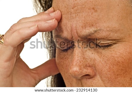 Close Up Shot Of Woman With Very Bad Tension Headache On White