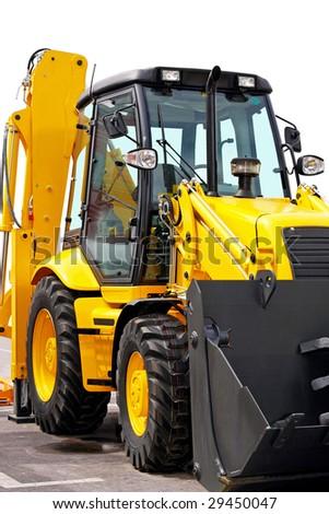 Close up shot of yellow construction digger - stock photo
