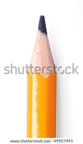 close-up shot of yellow pencils on white background