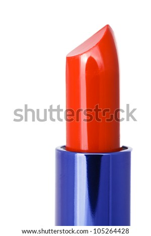Close up shot or red lipstick on white background