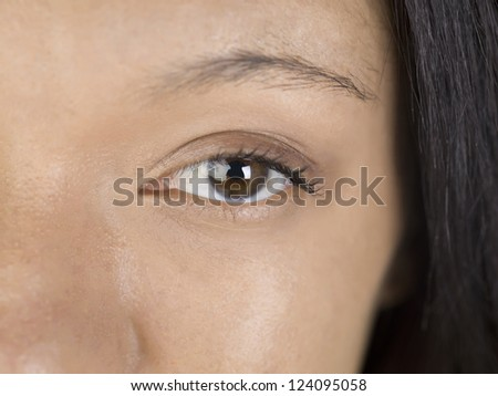 Close-up shot to the brown color eye of a woman - stock photo