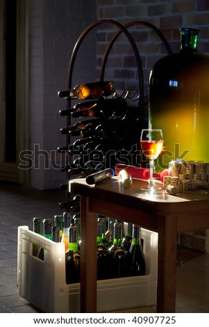 close up shot with wine cellar - stock photo