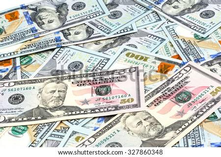 close-up shots macro lens from new one hundred dollars bills - stock photo