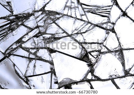 Close up shots of a broken glass - stock photo