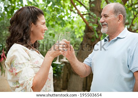 Close up side portrait of a healthy senior couple relaxing on holiday in a luxury garden toasting with glasses of champagne. Mature people enjoying romance and retirement, outdoors lifestyle. - stock photo