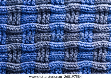 Close up Simple Design of Woven Crochet in Blue and Gray Color with Horizontal Orientation of Ridges - stock photo