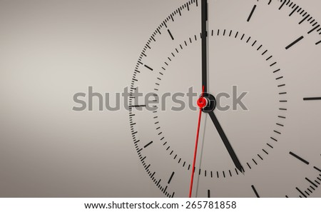 close up simple swiss clock on grey isolated background - stock photo