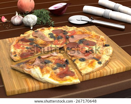 Close up Sliced Tasty Meaty Italian Pizza on Wooden Board Placed on Top of a Table with Raw Spices and Cutter on the Side.
