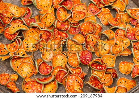 Close up slices of dried bael fruit - stock photo