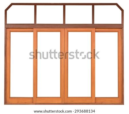 close up sliding wood window on white background - stock photo