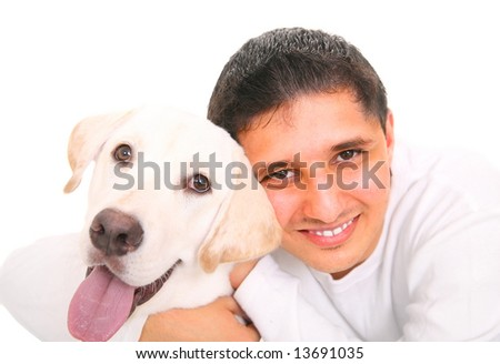 close up, smiling teenager hugging a dog. isolated on white background