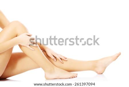 Close up smooth female legs. - stock photo
