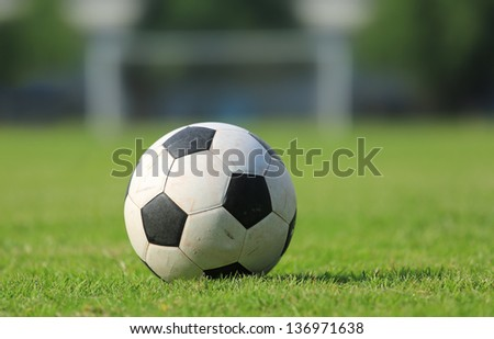 Close-up Soccer ball on green field - stock photo
