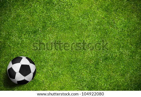 Close up soccer ball on green grass background