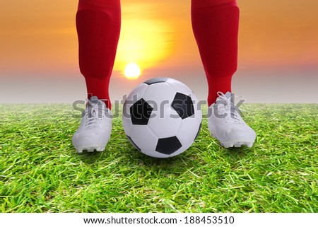 Close up Soccer player Kick off for your goal  - stock photo