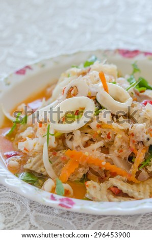 close up spicy mix salad with seafood  and  fresh vegetable