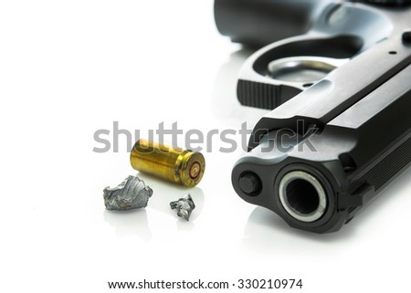 Close up squashed bullets,shell casing and gun on white background