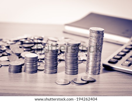 Close-up Stack Of Coins in Growing or success of business and financial concept - stock photo