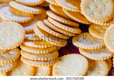 close up stack of crackers - stock photo