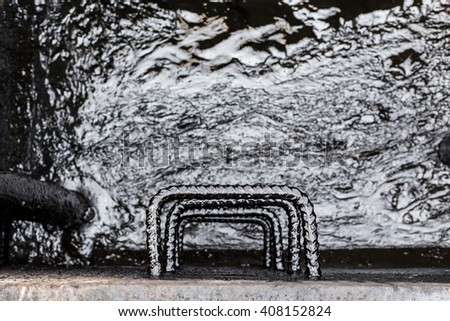 close up staircase crude oil contaminated - stock photo