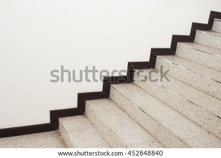 Close up Stairs terrazzo,marble  floor in sideways of a wall