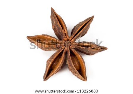 close up star anise isolated on white background