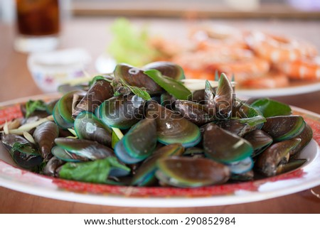 Close up Steamed mussels - stock photo