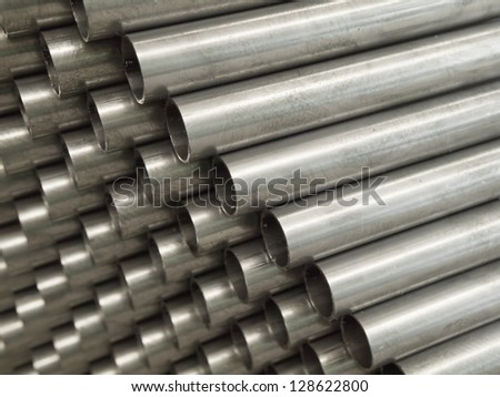 Close up Steel Pipe for use in directors furniture - stock photo