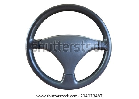 Close up steering wheel isolated on white background