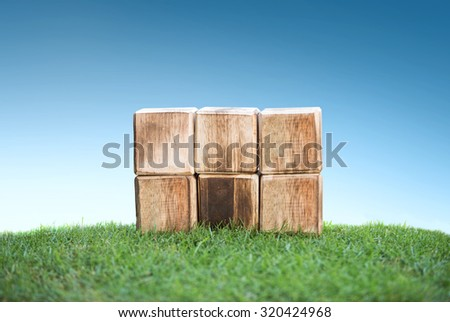 close up still life portrait of wooden blocks on a green grass, ready for your text - stock photo