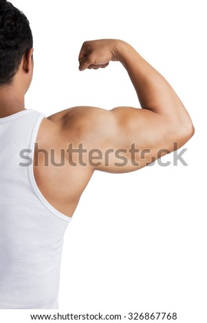Close up strong bodybuilder biceps,shoulder and arm isolated on white background.