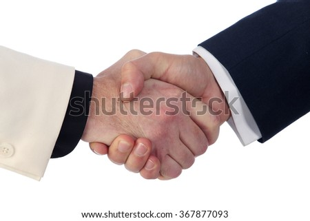 close-up strong man handshake on white background studio