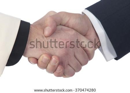 close-up strong man handshake on white background studio - stock photo