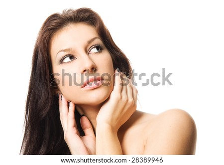 Close-up studio portrait of a sexy young smiling woman with beautiful eyes, isolated on white background