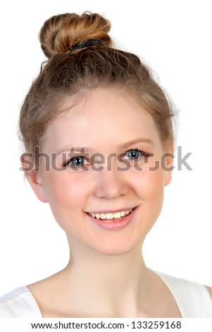 Close-up studio portrait of young beautiful woman  Isolated on white background - stock photo