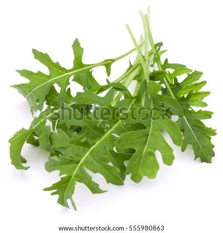 Close Up Studio Shot Of Green Fresh Rucola Leaves Isolated On White Background Rocket Salad