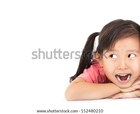 close up surprised face of little girl looking something - stock photo