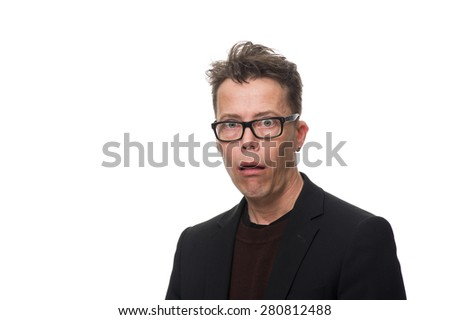 Close up Surprised Middle Age Businessman with Glasses Looking at the Camera in a Funny Facial Expression. Isolated on White Background. - stock photo
