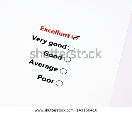 close up survey form tick on excellent - stock photo