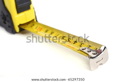 Close up tape measure isolated on a white background.