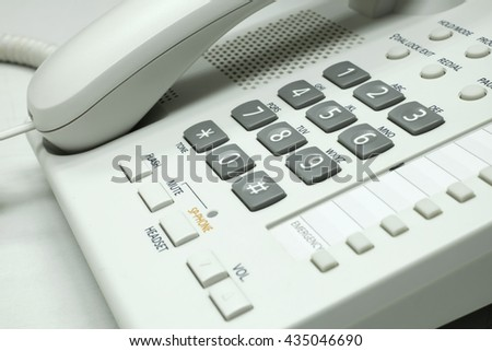 Close up telephone on table. - stock photo