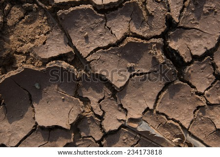 close-up texture of cracked earth brown in sunlight - stock photo