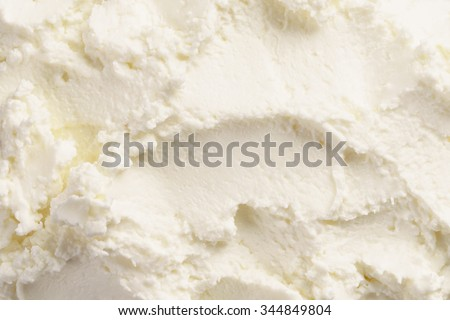 close up texture of cream cheese like ricotta, food background - stock photo