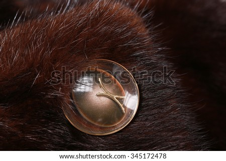 close-up texture of natural dark mink fur - stock photo