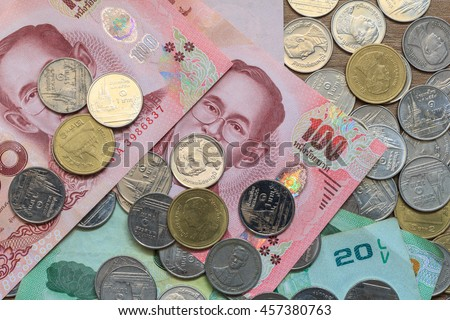 close-up Thai Baht Coins background. Thailand money