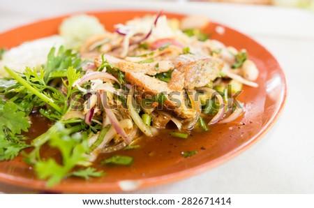 close up Thai cuisine spicy pork salad - stock photo