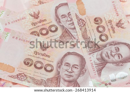 Close up Thai money in one hundred type banknotes