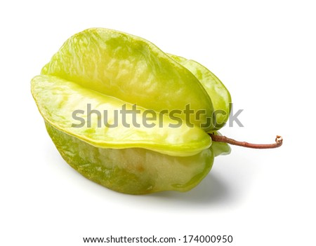 Close up Thai star fruit isolated on white - deep focus image