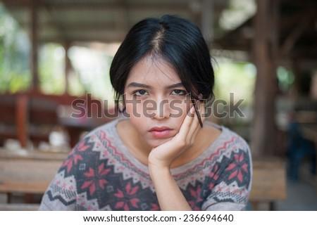 Close up the Beautiful Thai Girl - stock photo