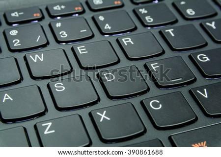 Close up the black keyboard of desktop, laptop, computer - stock photo